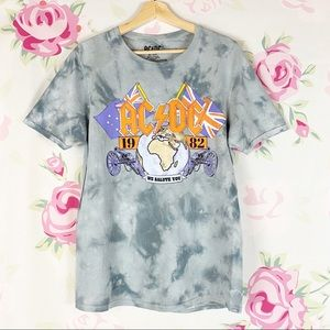 NEW AC/DC Tie Dye We Salute You Graphic Band Shirt